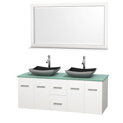 Centra 60 Double White Bathroom Vanity Set with Mirror Top Finish: Green Glass, Sink Finish: Avalon White Carrera Marble