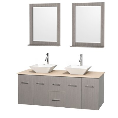 Centra 60 Double Gray Oak Bathroom Vanity Set with Mirror Top Finish: Ivory Marble, Sink Finish: White Porcelain