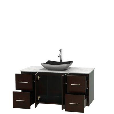 Centra 48 Single Bathroom Vanity Set Base Finish: Espresso, Top Finish: White Carrera
