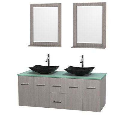 Centra 60 Double Gray Oak Bathroom Vanity Set with Mirror Sink Finish: Arista Black Granite, Top Finish: Green Glass
