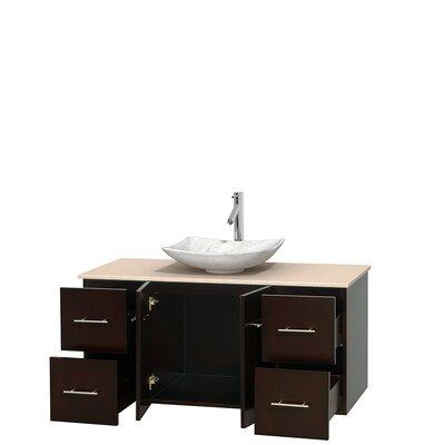 Centra 48 Single Bathroom Vanity Set Base Finish: Espresso, Top Finish: Ivory, Basin Finish: White Carrera Marble