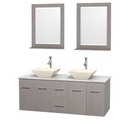 Centra 60 Double Gray Oak Bathroom Vanity Set with Mirror Top Finish: White Carrera Marble, Sink Finish: Bone Porcelain