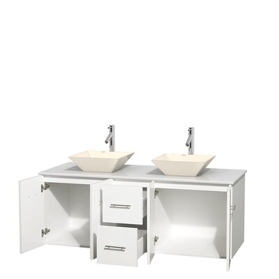 Centra 60 Double Bathroom Vanity Set Base Finish: Matte White, Basin Finish: Pyra Bone