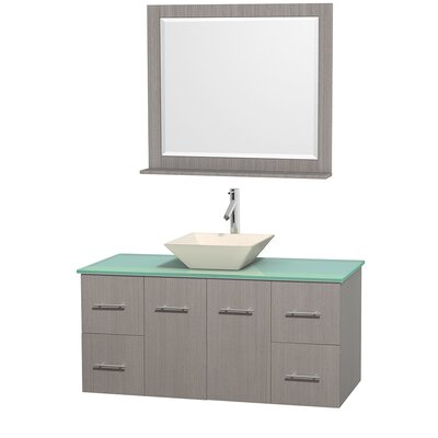 Centra 48 Single Gray Oak Bathroom Vanity Set with Mirror Sink Finish: Bone Porcelain, Top Finish: Green Glass