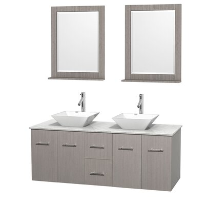 Centra 60 Double Gray Oak Bathroom Vanity Set with Mirror Top Finish: White Carrera Marble, Sink Finish: White Porcelain