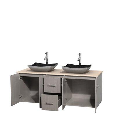 Centra 60 Double Bathroom Vanity Set Base Finish: Gray Oak, Top Finish: Ivory