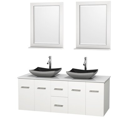 Centra 60 Double White Bathroom Vanity Set with Mirror Sink Finish: Avalon White Carrera Marble, Top Finish: Green Glass