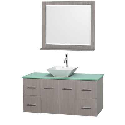 Centra 48 Single Gray Oak Bathroom Vanity Set with Mirror Top Finish: Green Glass, Sink Finish: White Porcelain