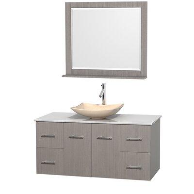 Centra 48 Single Gray Oak Bathroom Vanity Set with Mirror Sink Finish: Arista Ivory Marble, Top Finish: White Man-Made Stone