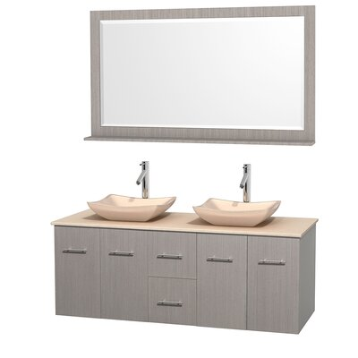 Centra 60 Double Gray Oak Bathroom Vanity Set with Mirror Top Finish: Ivory Marble, Sink Finish: Avalon Ivory Marble