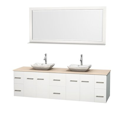 Centra 80 Double White Bathroom Vanity Set with Mirror Top Finish: Ivory Marble, Sink Finish: Avalon White Carrera Marble