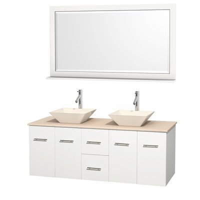 Centra 60 Double White Bathroom Vanity Set with Mirror Top Finish: Ivory Marble, Sink Finish: Bone Porcelain