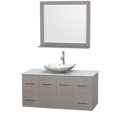 Centra 48 Single Gray Oak Bathroom Vanity Set with Mirror Top Finish: White Man-Made Stone, Sink Finish: Arista White Carrera Marble