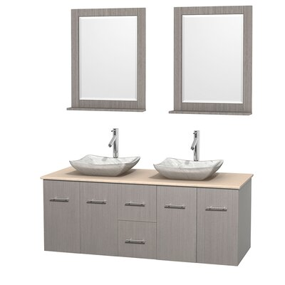 Centra 60 Double Gray Oak Bathroom Vanity Set with Mirror Top Finish: Ivory Marble, Sink Finish: Avalon White Carrera Marble