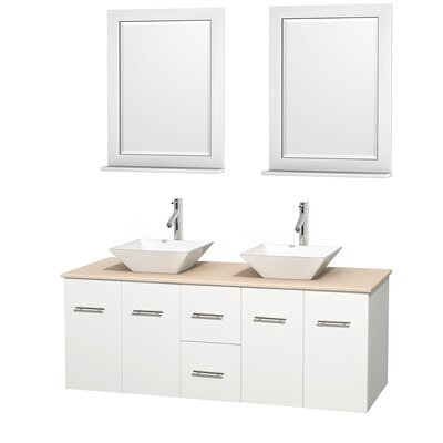Centra 60 Double White Bathroom Vanity Set with Mirror Sink Finish: White Porcelain, Top Finish: Ivory Marble