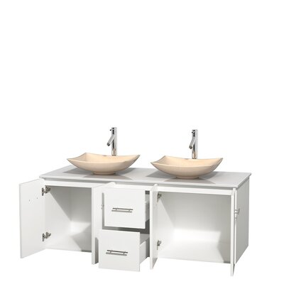 Centra 60 Double Bathroom Vanity Set Base Finish: Matte White, Basin Finish: Arista Ivory