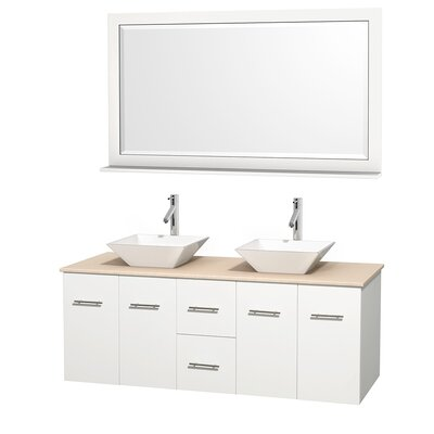 Centra 60 Double White Bathroom Vanity Set with Mirror Top Finish: Ivory Marble, Sink Finish: White Porcelain