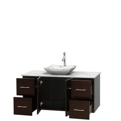Centra 48 Single Bathroom Vanity Set Base Finish: Espresso, Top Finish: White Carrera, Basin Finish: White Carrera Marble