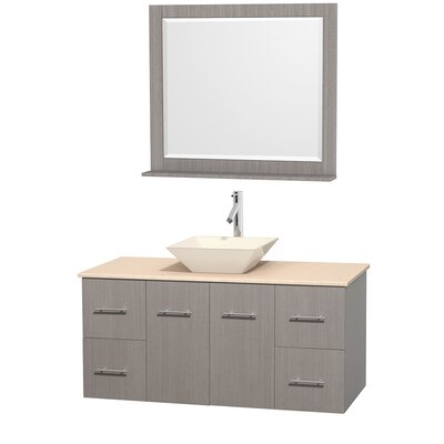 Centra 48 Single Gray Oak Bathroom Vanity Set with Mirror Top Finish: Ivory Marble, Sink Finish: Bone Porcelain