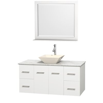 Centra 48 Single White Bathroom Vanity Set with Mirror Top Finish: White Carrera Marble, Sink Finish: Bone Porcelain