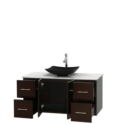 Centra 48 Single Bathroom Vanity Set Top Finish: White Carrera, Base Finish: Espresso