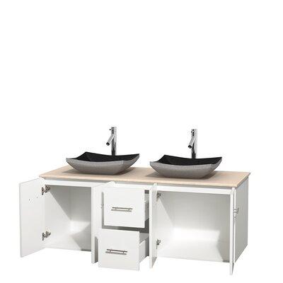 Centra 60 Double Bathroom Vanity Set Top Finish: Ivory, Base Finish: Matte White