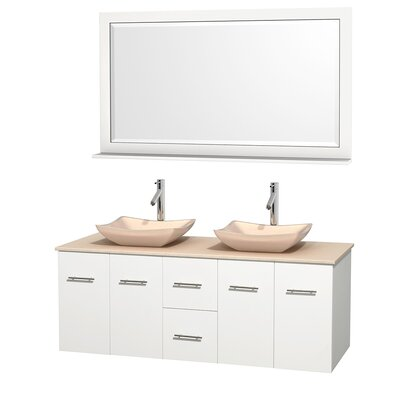 Centra 60 Double White Bathroom Vanity Set with Mirror Top Finish: Ivory Marble, Sink Finish: Avalon Ivory Marble