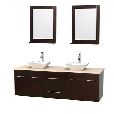 Centra 72 Double Espresso Bathroom Vanity Set with Mirror Top Finish: Ivory Marble, Sink Finish: White Porcelain