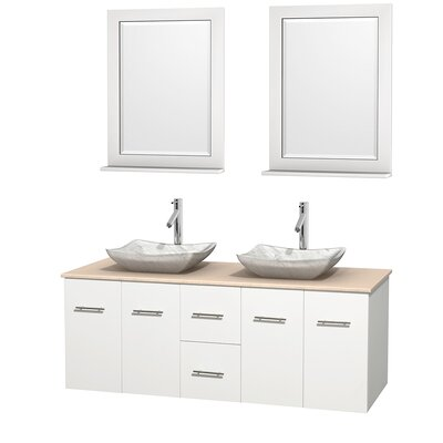 Centra 60 Double White Bathroom Vanity Set with Mirror Top Finish: Ivory Marble, Sink Finish: Avalon White Carrera Marble