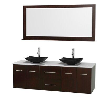 Centra 72 Double Espresso Bathroom Vanity Set with Mirror Top Finish: White Man-Made Stone, Sink Finish: Arista Black Granite