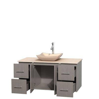 Centra 48 Single Bathroom Vanity Set Base Finish: Gray Oak, Top Finish: Ivory, Basin Finish: Ivory Marble
