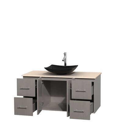 Centra 48 Single Bathroom Vanity Set Base Finish: Gray Oak, Top Finish: Ivory
