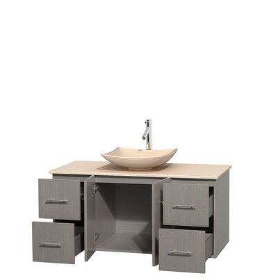 Centra 48 Single Bathroom Vanity Set Base Finish: Gray Oak, Top Finish: Ivory, Basin Finish: Ivory Marble