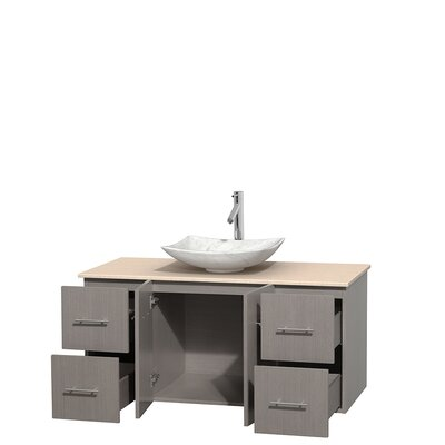 Centra 48 Single Bathroom Vanity Set Base Finish: Gray Oak, Top Finish: Ivory, Basin Finish: White Carrera Marble