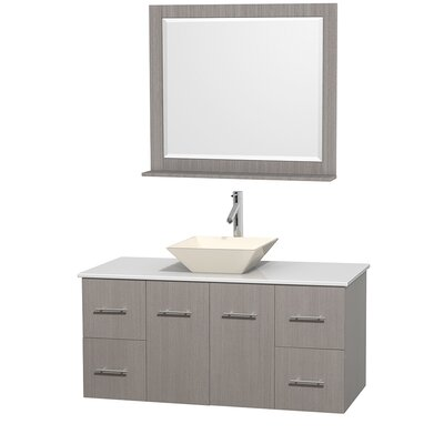 Centra 48 Single Gray Oak Bathroom Vanity Set with Mirror Top Finish: White Man-Made Stone, Sink Finish: Bone Porcelain