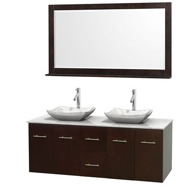Centra 60 Double Espresso Bathroom Vanity Set with Mirror Top Finish: White Carrera Marble, Sink Finish: Avalon White Carrera Marble