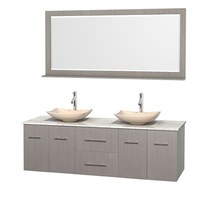 Centra 72 Double Gray Oak Bathroom Vanity Set with Mirror Top Finish: White Carrera Marble, Sink Finish: Arista Ivory Marble