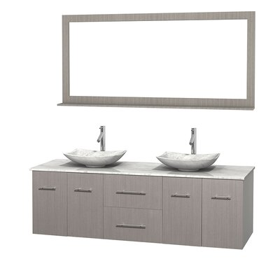 Centra 72 Double Gray Oak Bathroom Vanity Set with Mirror Top Finish: White Carrera Marble, Sink Finish: Arista White Carrera Marble