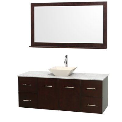 Centra 60 Single Espresso Bathroom Vanity Set with Mirror Top Finish: White Carrera Marble, Sink Finish: Bone Porcelain