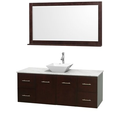Centra 60 Single Espresso Bathroom Vanity Set with Mirror Top Finish: White Carrera Marble, Sink Finish: White Porcelain