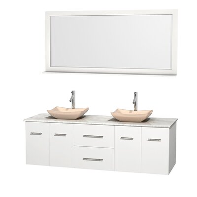 Centra 72 Double White Bathroom Vanity Set with Mirror Top Finish: White Carrera Marble, Sink Finish: Avalon Ivory Marble
