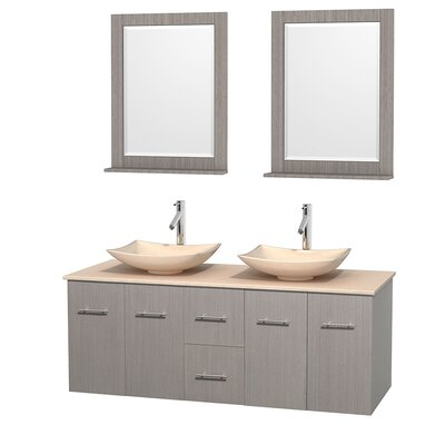 Centra 60 Double Gray Oak Bathroom Vanity Set with Mirror Top Finish: Ivory Marble, Sink Finish: Arista Ivory Marble