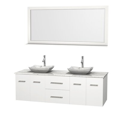Centra 72 Double White Bathroom Vanity Set with Mirror Top Finish: White Carrera Marble, Sink Finish: Avalon White Carrera Marble