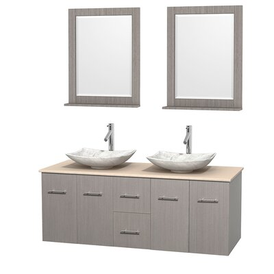 Centra 60 Double Gray Oak Bathroom Vanity Set with Mirror Top Finish: Ivory Marble, Sink Finish: Arista White Carrera Marble