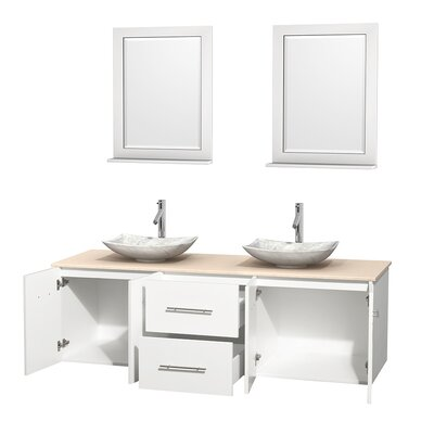 Centra 72 Double White Bathroom Vanity Set with Mirror Top Finish: Ivory Marble, Sink Finish: Arista White Carrera Marble