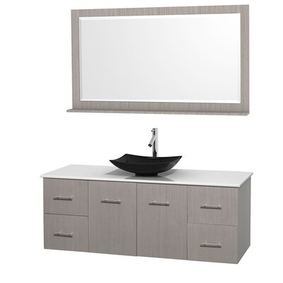 Centra 60 Single Gray Oak Bathroom Vanity Set with Mirror Top Finish: White Man-Made Stone, Sink Finish: Arista Black Granite