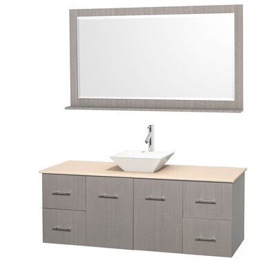 Centra 60 Single Gray Oak Bathroom Vanity Set with Mirror Top Finish: Ivory Marble, Sink Finish: White Porcelain