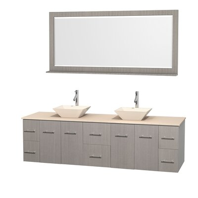 Centra 80 Double Gray Oak Bathroom Vanity Set with Mirror Top Finish: Ivory Marble, Sink Finish: Bone Porcelain