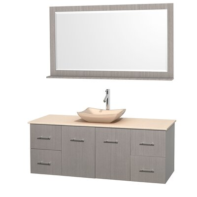 Centra 60 Single Gray Oak Bathroom Vanity Set with Mirror Top Finish: Ivory Marble, Sink Finish: Avalon Ivory Marble