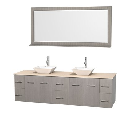Centra 80 Double Gray Oak Bathroom Vanity Set with Mirror Top Finish: Ivory Marble, Sink Finish: White Porcelain